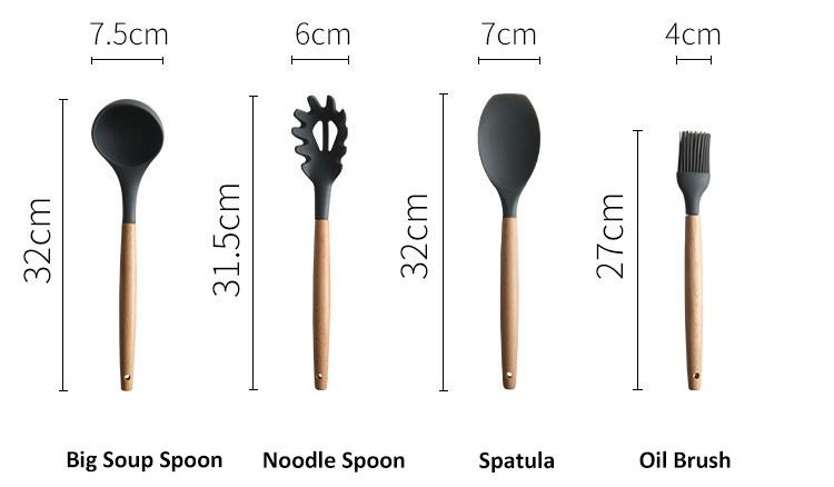 1Pcs/Set Silicone Cooking Utensils kitchen Accessories Set Tool Ladle Egg Beaters Shovel Cooking Non-stick Wooden Handle Spatula