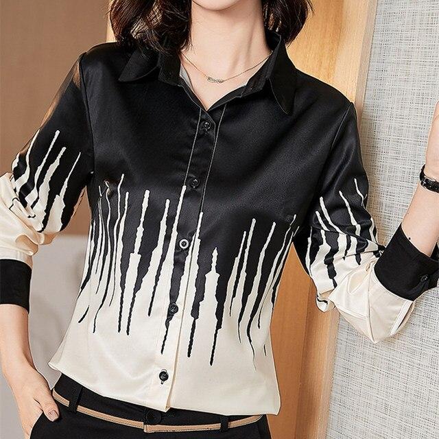 Korean Silk Women Shirts Woman Satin Blouses Women Long Sleeve Shirts Woman Silk Blouse Tops Plus Size Blusas Femininas Elegante