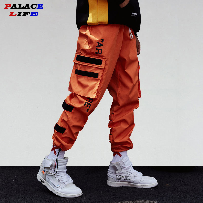 Men's Side Pockets Cargo Harem Pants 2019 Hip Hop Casual Male Tatical Joggers Trousers Fashion Casual Streetwear Pants