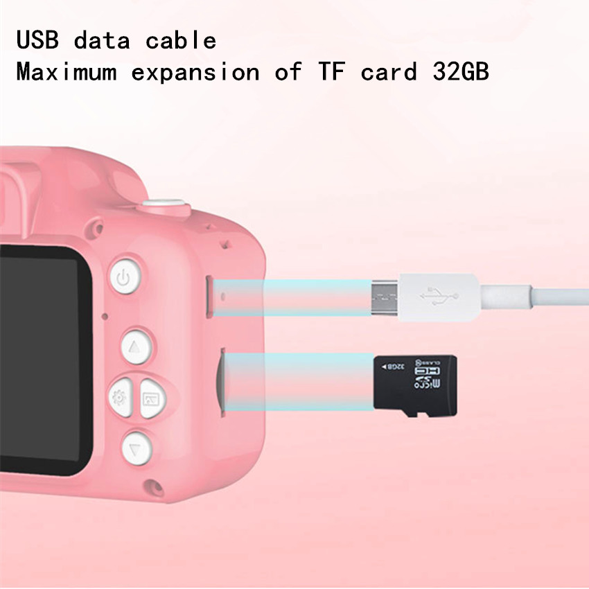 Kids Camera 2000W Cute Children's Camera With 16GB TF Card Waterproof 1080P HD Screen Camera Video Toy Outdoor Photography 3