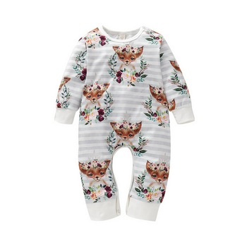 Autumn/Winter Baby Jumpsuits - Fox and Elephant Print