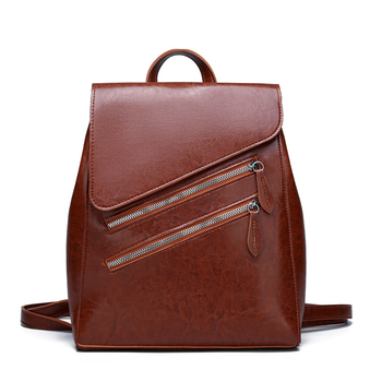 Luxury Brand Women Vintage Leather Backpacks for Girls Female High Quality School Bags Shoulder Sac