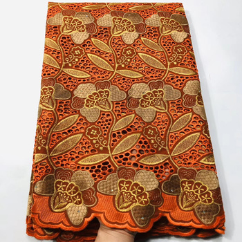 5 colors (5yards/pc) high quality embroidered African dry cotton lace fabric in orange color for beautiful dress CXS009
