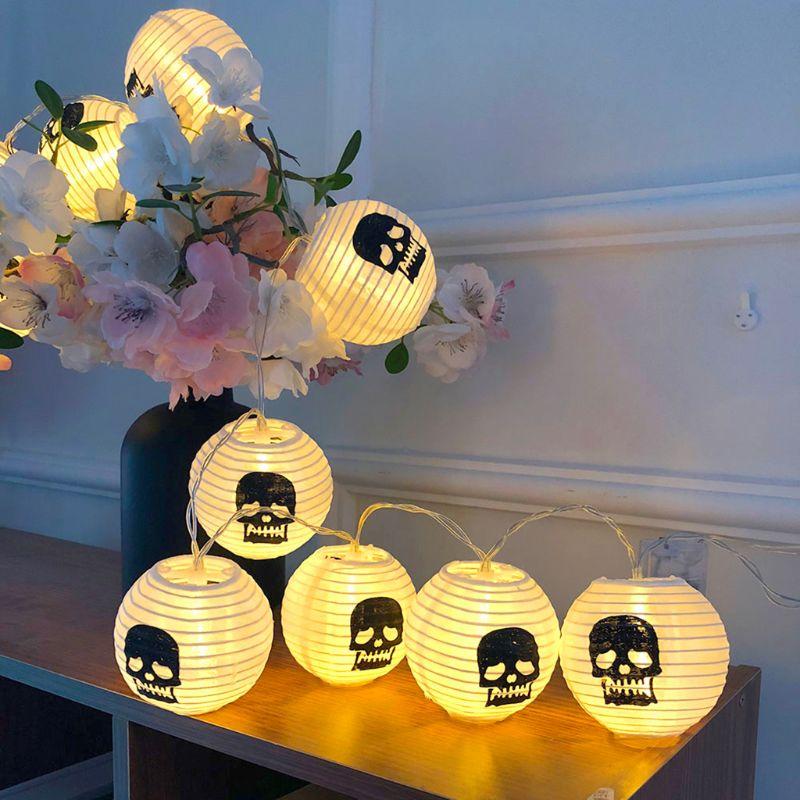 10LED Halloween Glowing Lantern Retractable Hand-held Taro Lantern Ghost Festival Scene Arrangement Decorative Light String