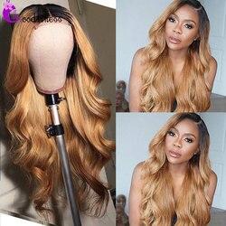 4x4 zamknięcie koronki peruka blond Ombre ciało fala ludzki włos peruka Glueless brazylijski Preplucked burgundia czerwona peruka ludzki włos goodight