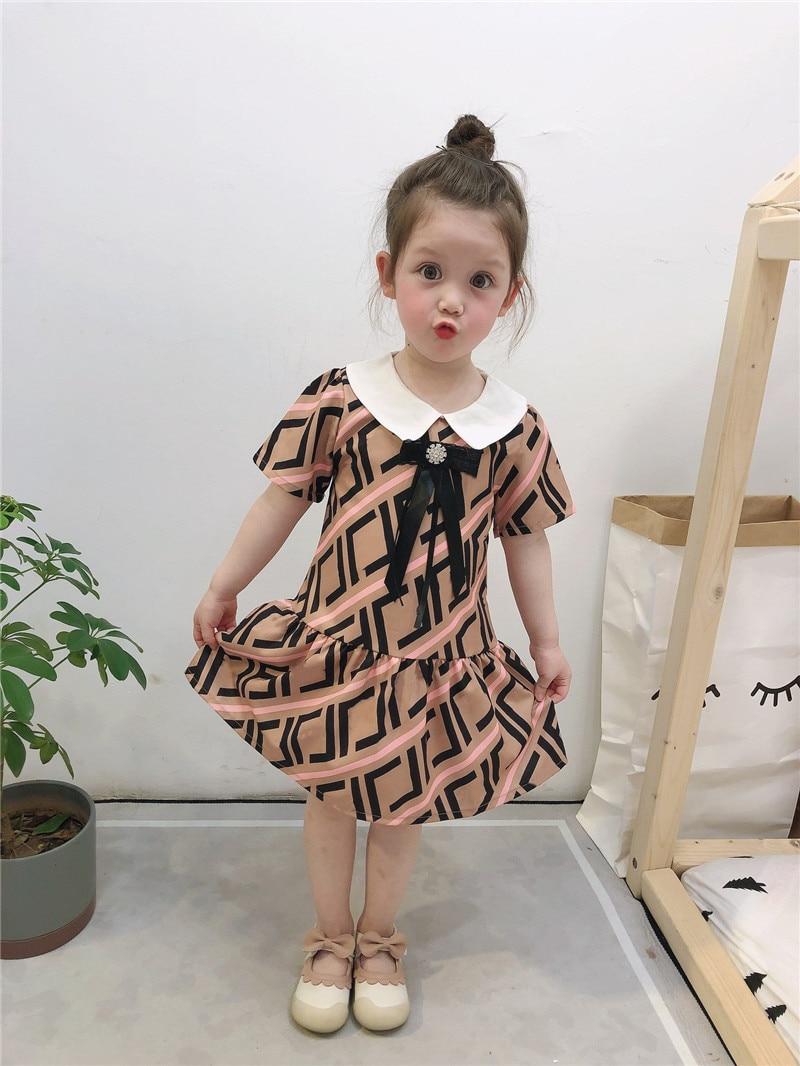 Girl Dress 2020  Children Summer Bow Princess Party Dress Fashion Kids Flower Girl Short Sleeve Dresses  Baby Kids Clothe