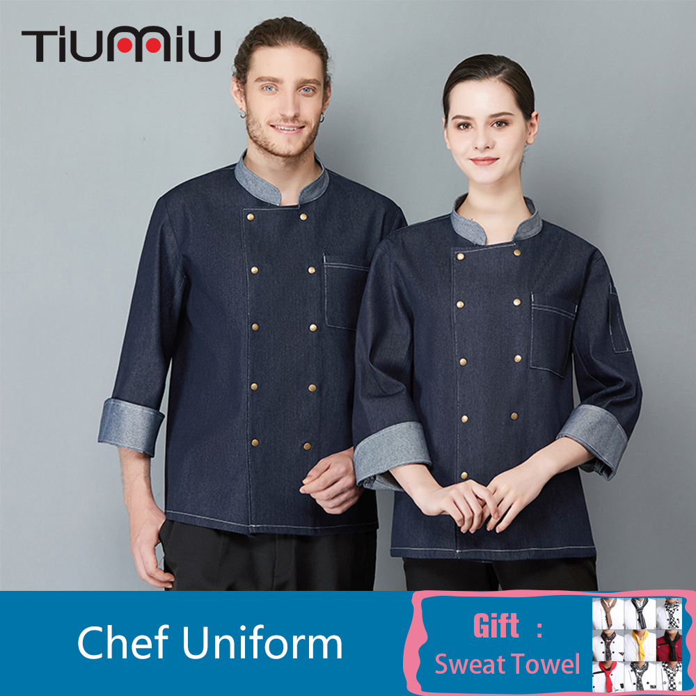 High Quality Denim Long Sleeve Chef Jacket Men Women Cook Coat Kitchen Overalls Hotel Catering Cafe Barber Shop Waiter Uniform