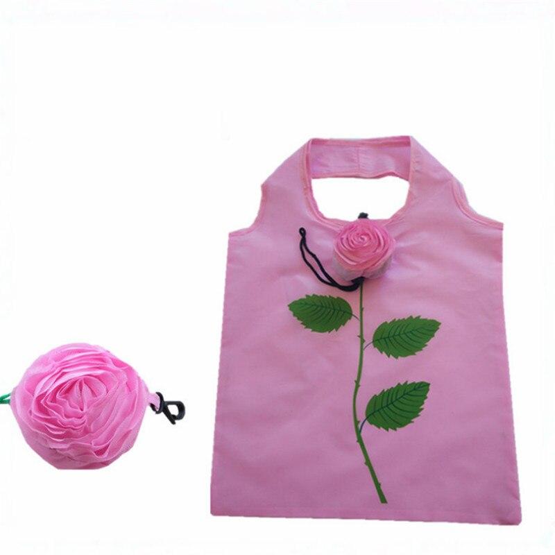 Vogvigo Foldable Shopping Bag Durable Rose Flower Tote Reusable Floral Handbag Large Capacity Oxford Cloth Casual Grocery Bag