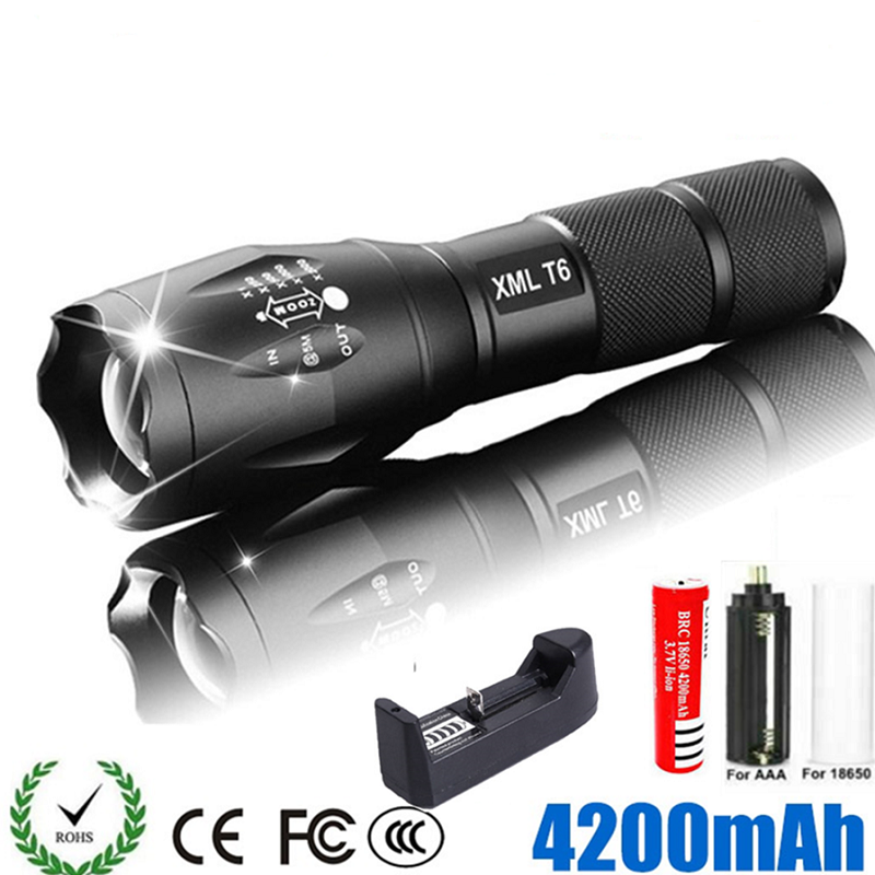LED Rechargeable Flashlight Abay XML T6 Linterna Torch 18650 Battery 5 Modes Waterproof Outdoor Camping Powerful Led Flashlight