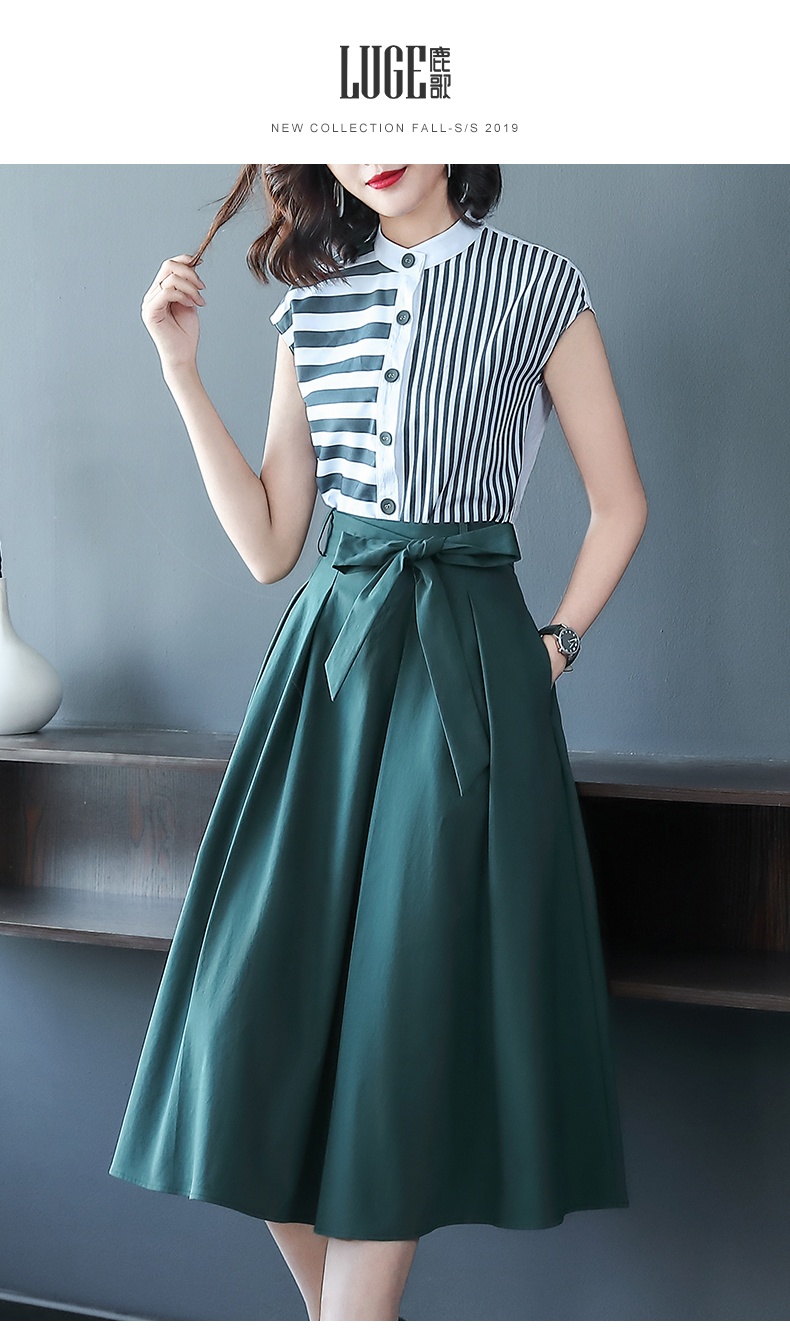 H52d17b63fae649549c837704873a059d9 - Female Office Skirt Set Single Breasted Stripe Shirts Blouses and Lace-up Midi Skirt Work Suit Summer 2 Piece Outfits for Women