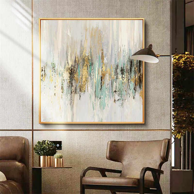 Modern Abstrak Kanvas Lukisan Minyak Tangan Dicat Abstrak Emas Lukisan Cat Minyak Lukisan Lukisan Dinding Ruang Tamu Dekorasi Rumah