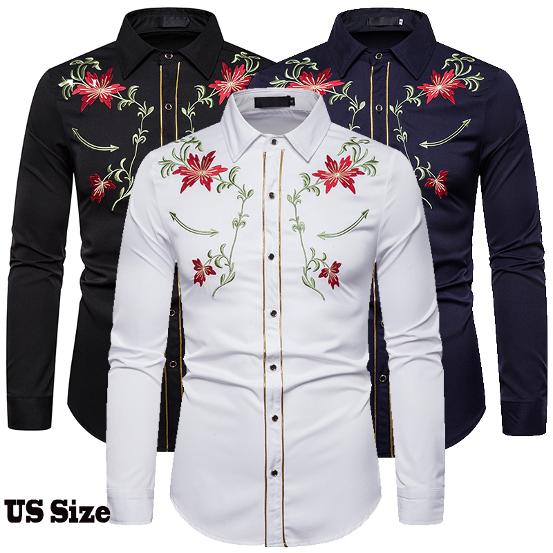 Men's Shirt Western Denim Flower Embroidered Shirt Slim Casual Long Sleeve Buttoned Shirt Men's National Wind Embroidered Shirt