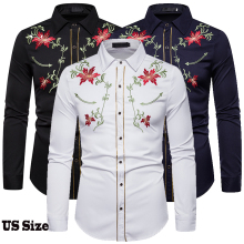 Men's Shirt Western Denim Flower Embroidered Shirt Slim Casual Long Sleeve Buttoned Shirt Men's National Wind Embroidered Shirt long sleeve buttoned large grid shirt