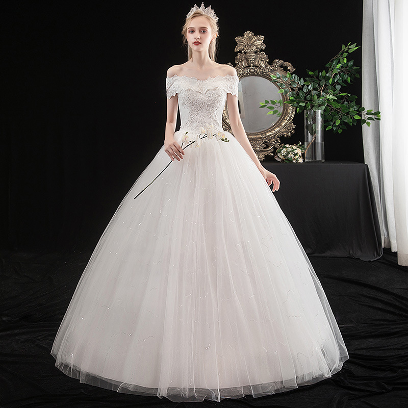 Vestido De Noiva 2020 Elegant Boat Neck Off The Shoulder Simple Wedding Dress Lace Appliques Slim Plus Size Bride Ball Gown L