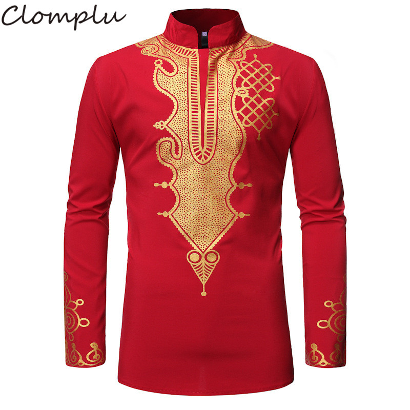 Clomplu Africa Fashion Dashiki Men African Men Clothes Casual Long Sleeve Print Traditional Autumn Black Red Navy