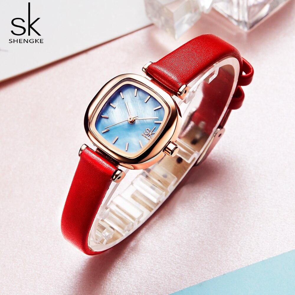 Senhoras de Couro Relógio de Pulso de Quartzo Relógio de Pulso Shengke Relógios Femininos Casuais Relógio Feminino Bayan Kol Saati Presente sk