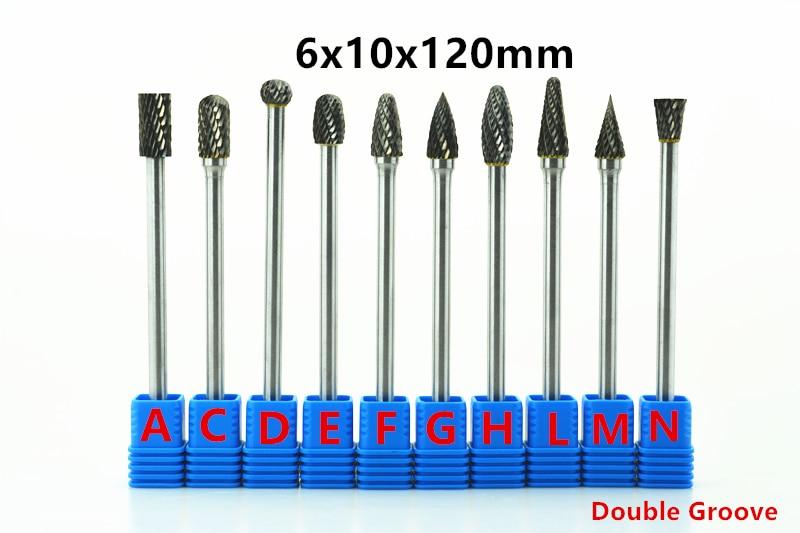Jrealmer 1pcs 6x10x120mm Long Tungsten Carbide Burrs For Dremel Grinding Steel Grinding Wood Grinding