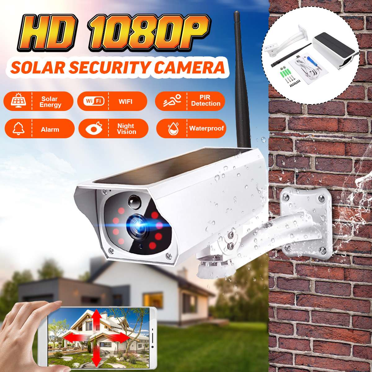 1080P Solar IP Camera 2MP Wireless Wi-fi Security Surveillance Waterproof Outdoor Camera IR Night Vision Solar Power HD Camera