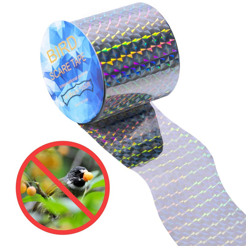 Bird Repellent Scare Tape - 350 Ft Double Sided Reflective Bird Deterrent Tape For Grackles, Woodpeckers, Herons, Blackbirds, Pi