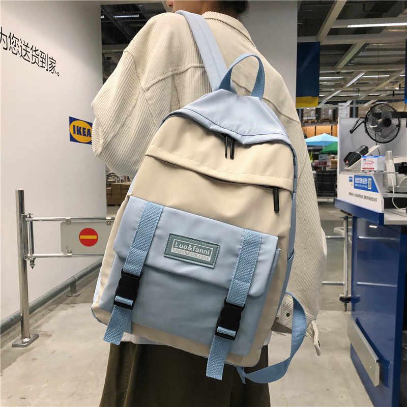 نساء نايلون حقائب ظهر كاندي اللون مقاوم للماء مدرسة حقائب للمراهقين بنات كبير لطيف محمول على ظهره المرقعة Kawaii على ظهره