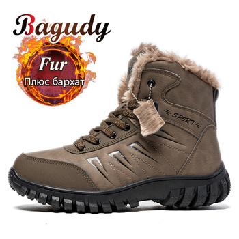 Męskie skórzane buty zimowe śniegowe buty ciepłe pluszowe buty buty za kostkę odkryte trampki buty męskie wodoodporne buty pustynne obuwie tanie i dobre opinie bagudy Buty śniegu Krowa Zamszu Kostki Lace-up Pasuje prawda na wymiar weź swój normalny rozmiar Okrągły nosek Stałe
