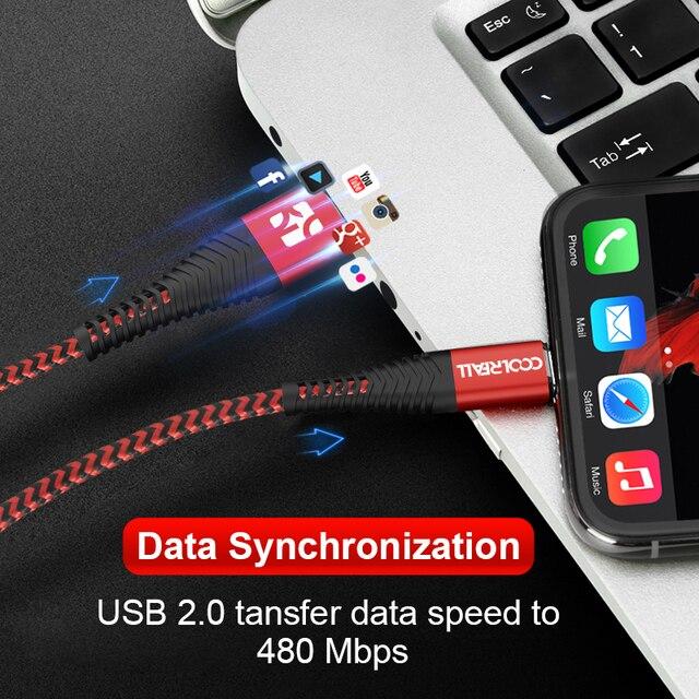 Câble USB Coolreall pour iPhone 11 pro max Xr X 8 7 6 plus 6s 5 s plus iPad 2.4A câble de charge rapide cordon câble de données de téléphone portable