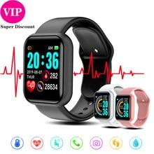 Y68 Smartwatch kadın erkek spor Bluetooth akıllı bant nabız monitörü kan basıncı spor izci Android IOS için bilezik