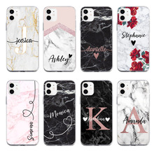PERSONALISED Custom your name initials Marble For iPhone 11 Pro 7Plus 7 6S 8 8Plus X XS Max XR Soft