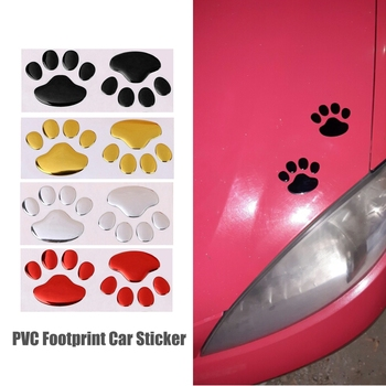 2Pcs/Set Car Sticker Cool Design Paw 3D Animal Dog Cat Bear Foot Prints Footprint Decal Car Stickers Silver Red Black Golden image