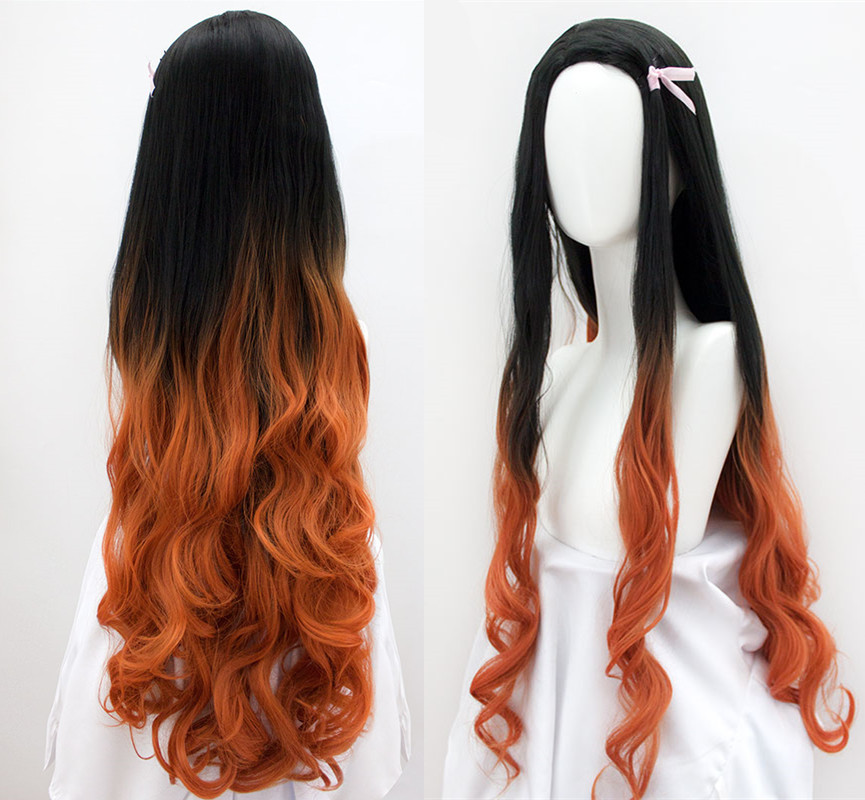 100cm/39inch Women Kamado Nezuko Cosplay Wig Demon Slayer: Kimetsu No Yaiba Sister Black With Orange Long Wavy Hair