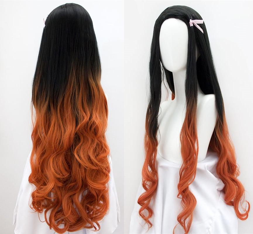100cm/39inch Women Kamado Nezuko Cosplay Wig Demon Slayer: Kimetsu No Yaiba Sister Black With Orange Long Wavy Hair