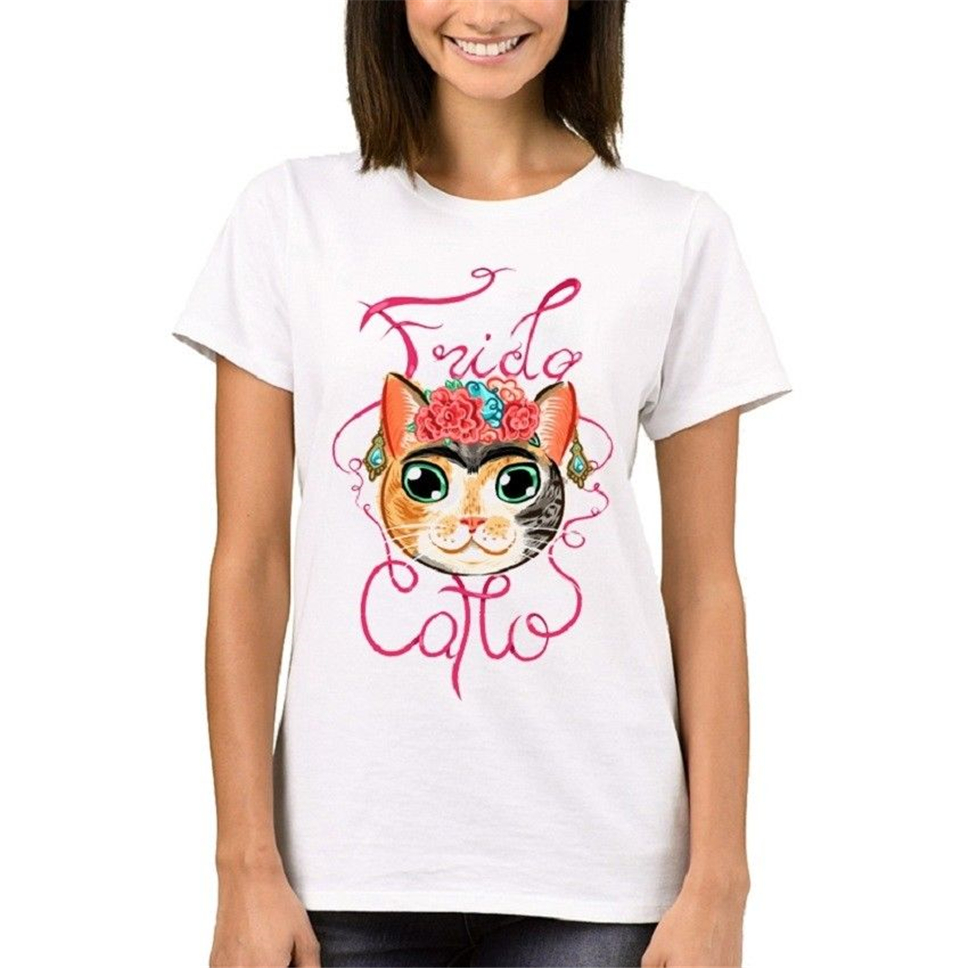 Frida Catlo Women T Shirts Fashion Lady Tops Short Sleeve Funny Cat Printed T 2Xl 15Xl Tee Shirt
