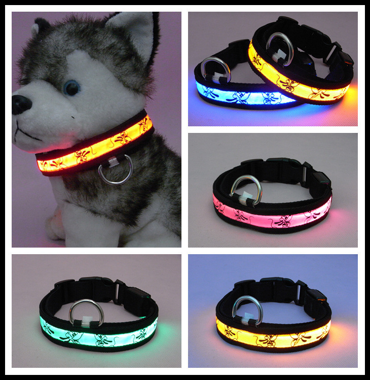 Shining Pet Supplies LED Pluto Teddy Golden Retriever Luminous Collar Dog Anti-Lost Neck Collar Necklace
