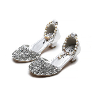 Image 2 - Kids Princess Shoes for Girls Mary Jane Sandals Low Heel Sparkle Rhinestone Dance Shoes 2020 Children Girl Party Dress Shoes
