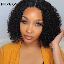 Wigs Lace-Closure Human-Hair FAVE Curly for Women Kinky Bob Brazilian Prelucked Hairline