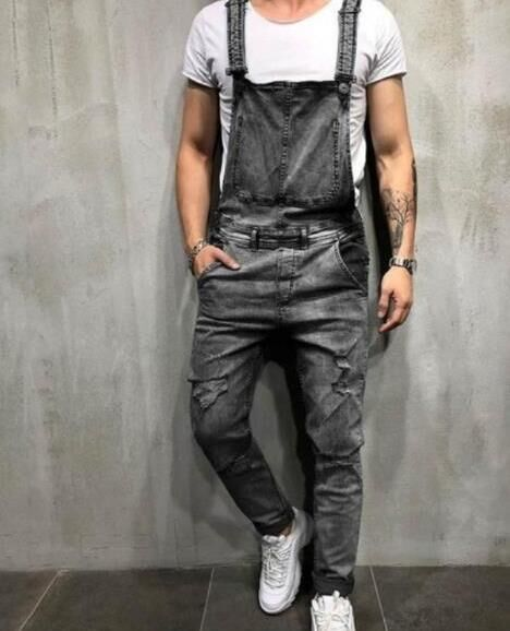 Рваные джинсы, комбинезоны 2020, модные мужские джинсовые комбинезоны на подтяжках, уличная одежда, размер S-XXXL
