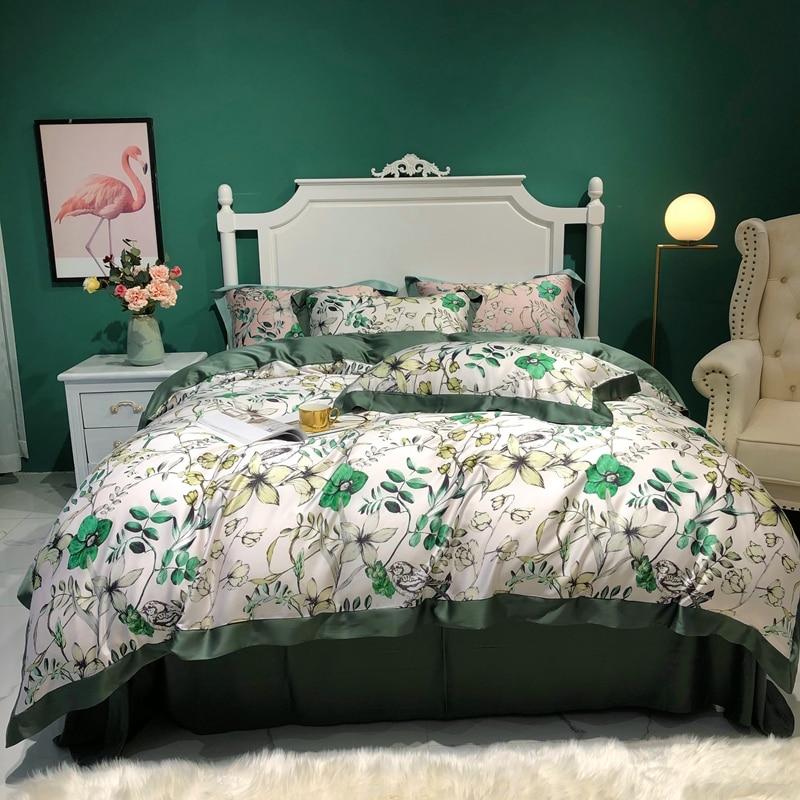 2020 New Bedding Sets Luxury Tencel Bed Linen Flowers  Duvet Cover Flat Sheet Pillowcase Bedding Set  King Queen Size 4pcs
