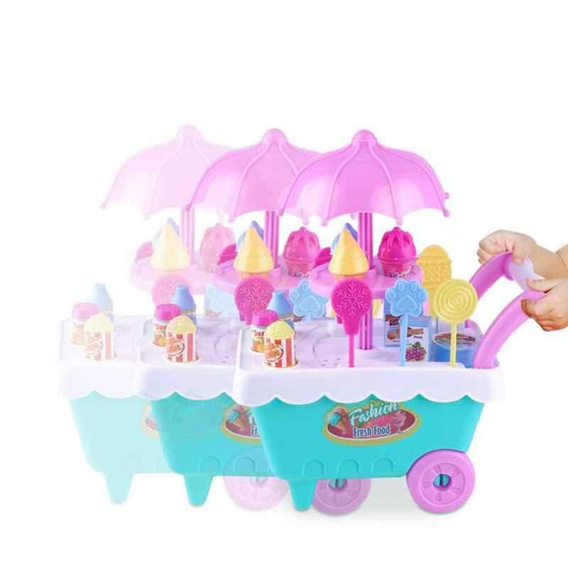 محاكاة عربة الآيس كريم الصغيرة لعبة لطيف الحلوى عربة اللعب منزل فتاة الآيس كريم سيارة الأطفال المطبخ اللعب