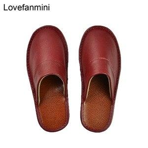 Image 4 - Тапочки из натуральной коровьей кожи для мужчин и женщин, Нескользящие домашние модные повседневные однотонные туфли, мягкая подошва из ПВХ, весна лето 518