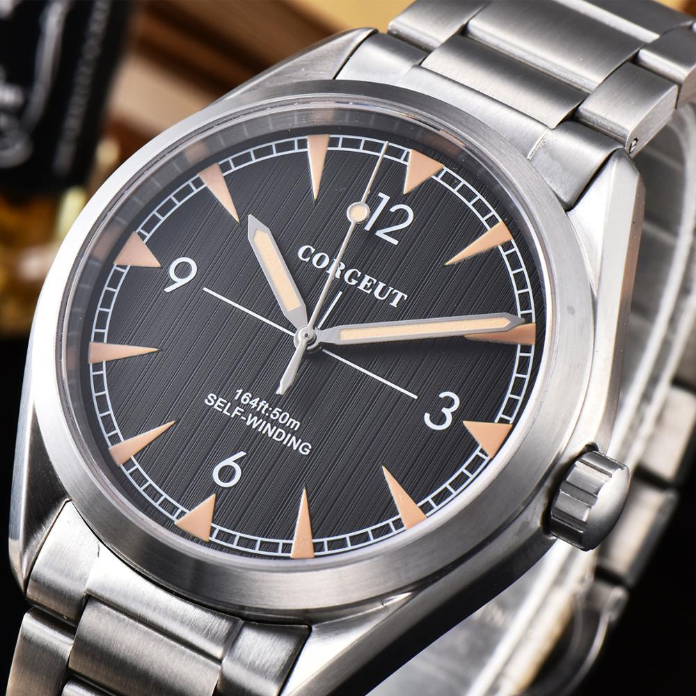 Corgeut 41mm Automatic Mechanical Watch Men Luxury Brand White Dial Sapphire Crystal Luminous Waterproof Calendar Wristwatch Men