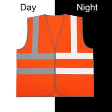 High Visibility Reflective Fluorescent Vest Orange Color Outdoor Safety Clothing Running Ventilate Safe Vest