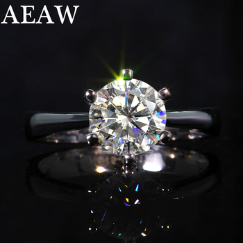 1 Carat Round Moissanite Engagement Ring 10k 14K 18K White Gold silver 925 Wedding Rings image