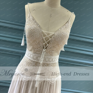 Image 2 - Mryarce 2020 nowy boho weselny sukienka paski spaghetti koronki szyfonu suknie ślubne