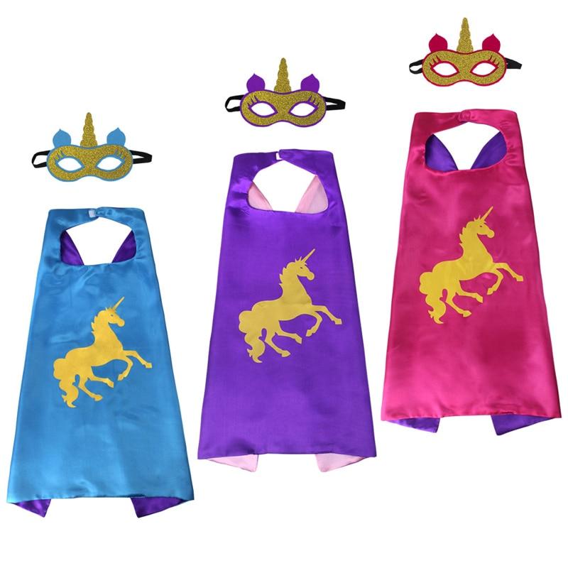 Fun Mask Horse Cape Student Halloween SuperHero Children's Day Gift Toys Kids Birthday Cosplay Party Game Toys Cartoon Hats Xmas
