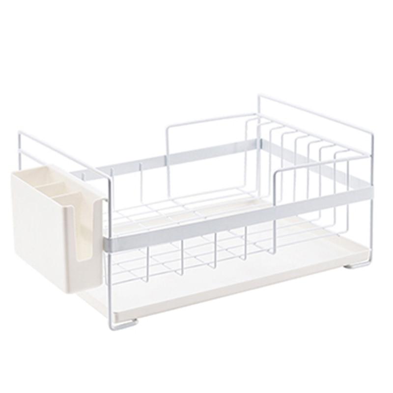 ABSS-Kitchen Storage Organizer Dish Drainer Drying Rack Kitchen Sink Holder Tray For Plates Bowl Cup Tableware Shelf Basket Whit