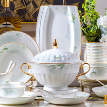 60 Heads Jingdezhen Ceramic Dinner Dish Rice Bowl Soup Bowl Salad Noodles Bowl Plate Dish Bowl Dinnerware Set ceramic tableware 5 6 8 inch japanese cherry blossom ceramic ramen bowl large instant noodle rice soup salad bowl container porcelain tableware
