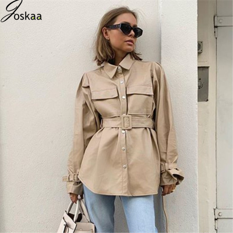 Joskaa 2019 Autumn Long Sleeve Cotton Button Belt Casual Trench Pocket OL Outwear Turn-down Collar Solid