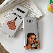 Faça dinheiro não amigos kash cabeça preta menina tpu silicone caso de telefone para samsung galaxy s8 s9 s10plus s6 s7dege s20 s20ultra