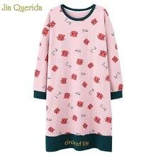 نايتي النوم فستان قميص قطني بكم طويل الخريف فستان سهرة Kawaii الوردي الكرتون الطباعة ليلة قميص حجم كبير قمصان النوم النساء