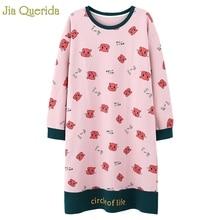 Nighty dormir vestido de algodão manga longa outono noite vestido kawaii rosa dos desenhos animados impressão noite camisa plus size sleepshirts